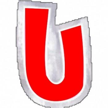 """Pegatina Para Globo Letra """"U"""" Color ROJO (1 ud)"""