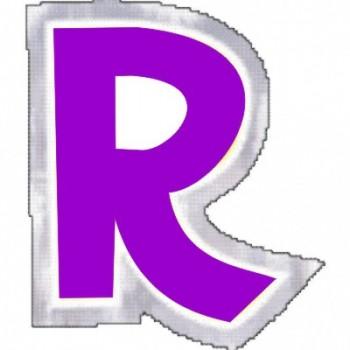 """Pegatina Para Globo Letra """"R"""" Color MORADO (1 ud)"""