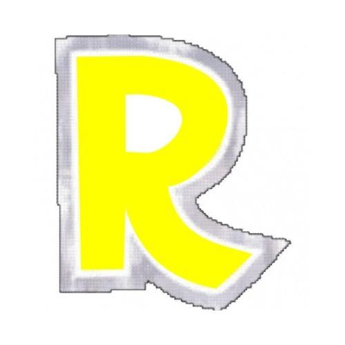 """Pegatina Para Globo Letra """"R"""" Color AMARILLO (1 ud)"""