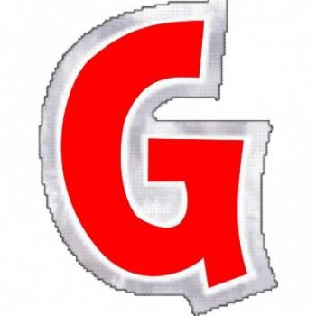 """Pegatina Para Globo Letra """"G"""" Color ROJO (1 ud)"""
