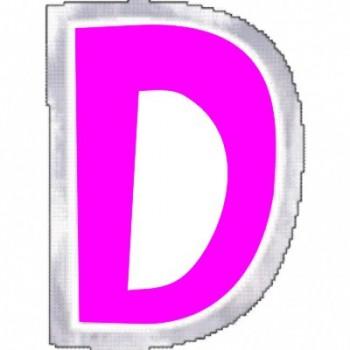"""Pegatina Para Globo Letra """"D"""" Color ROSA (1 ud)"""