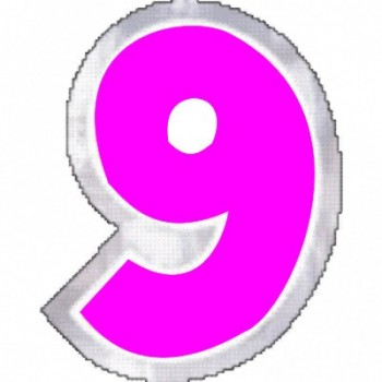 Pegatina Para Globo Nº9 color ROSA (1 ud)