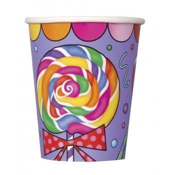 8 Vasos 250 ml Candy Party