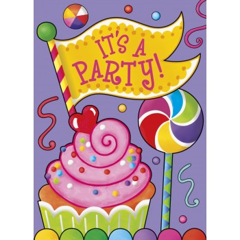 8 Invitaciones Candy Party