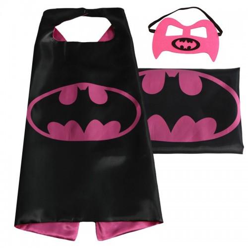 Capa Batman Negra y Rosa Con Antifaz (1 ud)