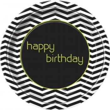8 Platos 23cm Designer Birthday