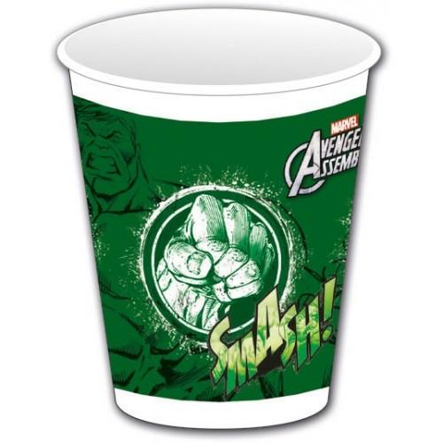 """Vasos plástico Hulk """"Los Vengadores"""" 200 ml (8 uds)"""