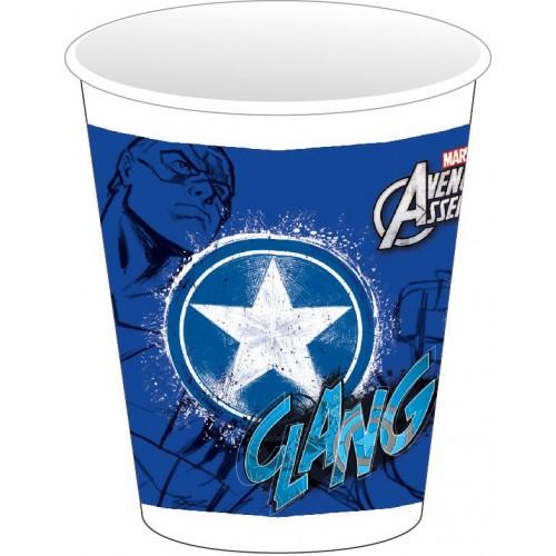 """Vasos plástico Capitán América """"Los Vengadores"""" 200 ml (8 uds)"""