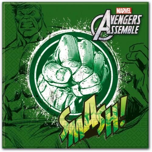 """Servilletas Hulk """"Los Vengadores"""" grandes (20 uds)"""