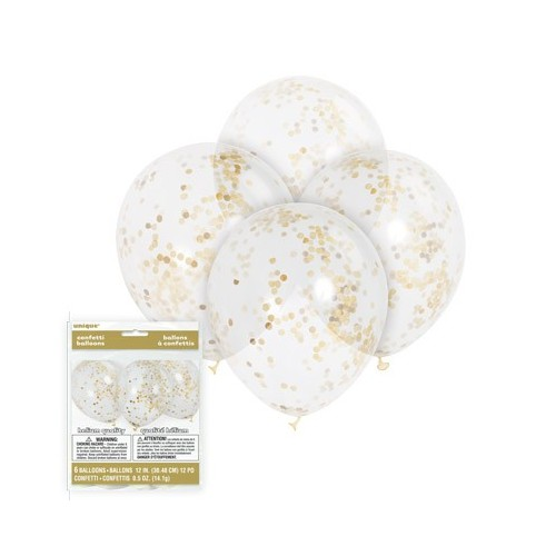Globos transparente Confetti Oro (6 uds)