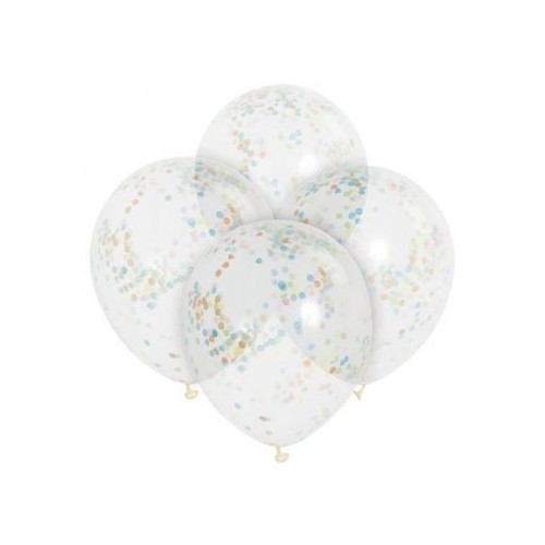 Globos transparente Confetti Multicolor (6 uds)