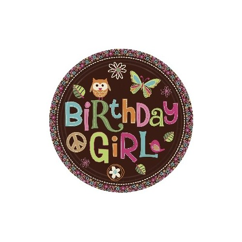 Platos Hippie Chick Birthday 23 cm (8 uds)