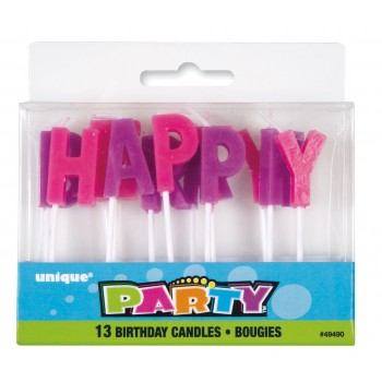"""Vela """"Happy Birthday"""" Rosa y Morado (1 ud)"""