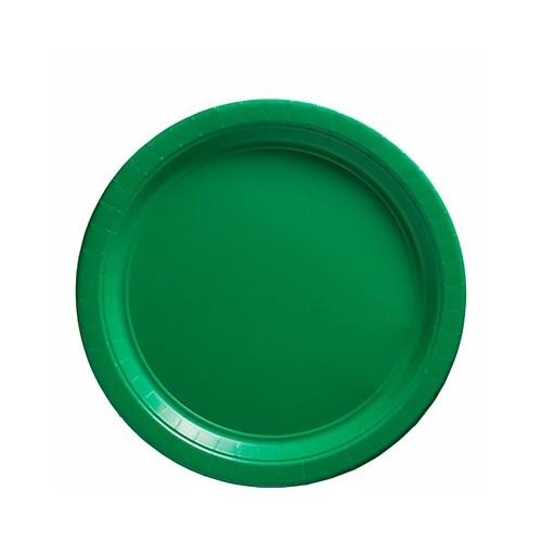 Platos Verde Cartón 23cm (8 uds)