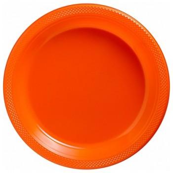 Platos Naranja Plásticos 23 cm (10 uds)
