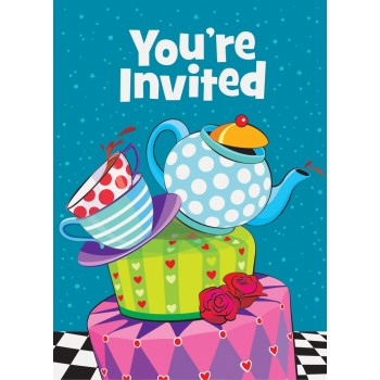 Invitaciones Mad Hatter (8 uds)