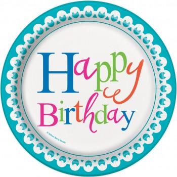 Platos 18cm Confetti Cake (8 uds)