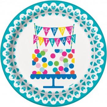 Platos 23cm Confetti Cake (8 uds)