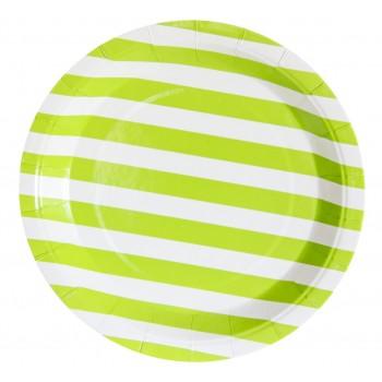 Platos De Cartón Rayas Verde Lima 23 cm (12 uds)