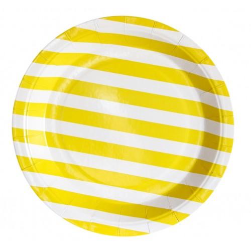 Platos De Cartón Rayas Amarillo claro 23 cm (12 uds)