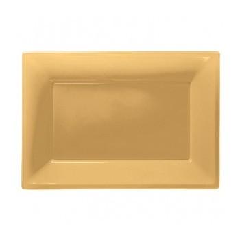 Bandeja Oro de Plástico (3 uds)