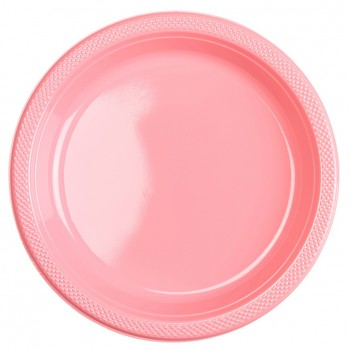Platos Rosa Plásticos 23 cm (10 uds)