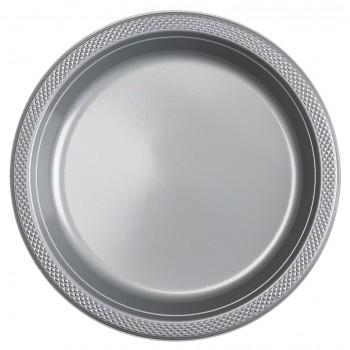 Platos Plata Plásticos 23 cm (10 uds)