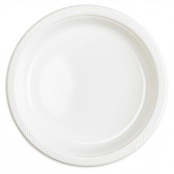Platos de Plástico Blanco 23 cm (10 uds)