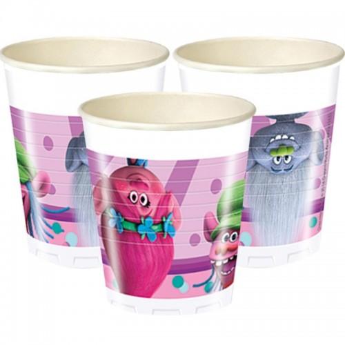 Vasos plástico Trolls 200 ml (8 uds)