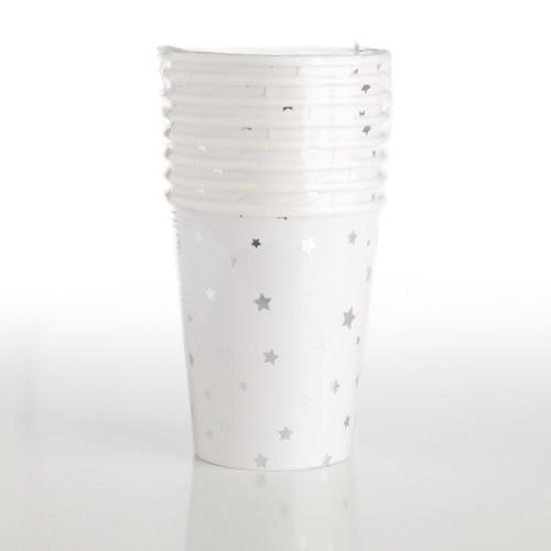 Vasos Estrellas Plata 260 ml (8 uds)