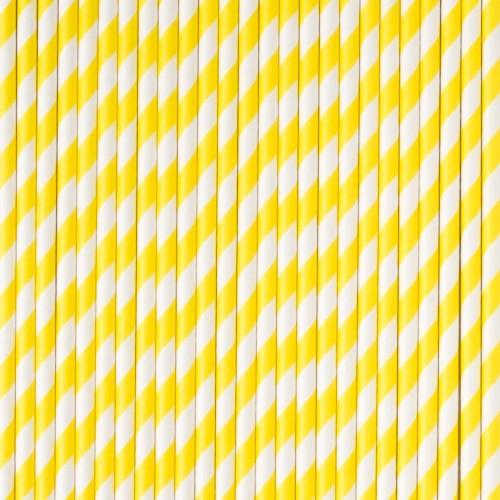 Pajitas rayas amarillas (24 uds)