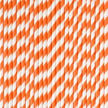 Pajitas rayas naranja (24 uds)