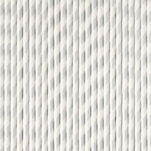 Pajitas rayas plata (25 uds)
