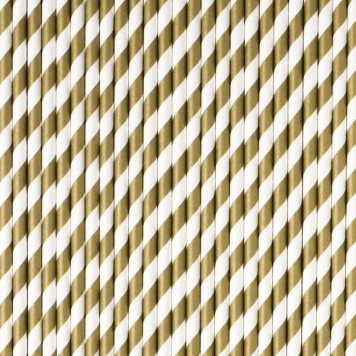 Pajitas rayas oro (25 uds)
