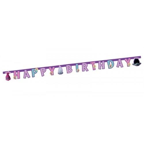 """Guirnalda """"Happy Birthday"""" Trolls (1 ud)"""