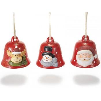 Campanilla Navidad cerámica (3 uds)