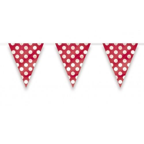 Banderín Triangular Rojo con lunares Blancos (1ud)