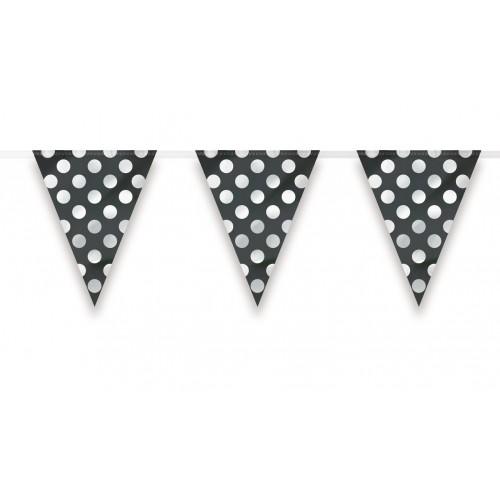 Banderín Triangular Negro con lunares Blancos (1ud)