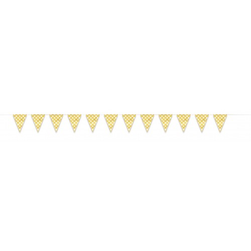 Banderín Triangular Amarillo con lunares Blancos (1ud)