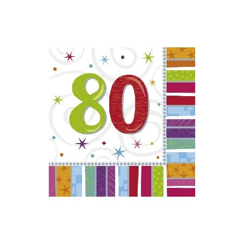 """Servilletas Grandes """"80 años"""" Radiante (16 uds)"""