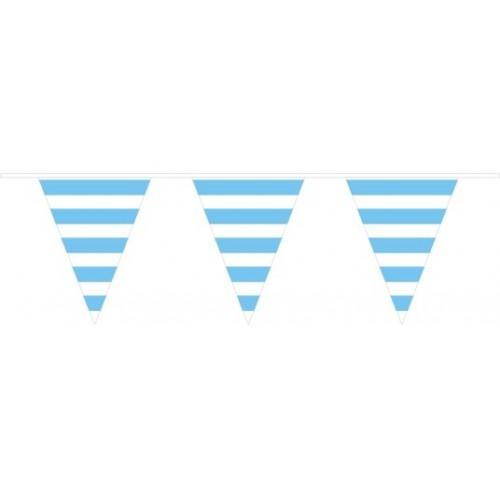 Banderín Triangular Rayas Azul Claro (1ud)