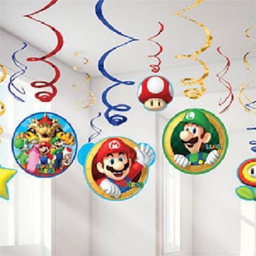 Decoración colgante Super Mario Bros (6x2 uds)
