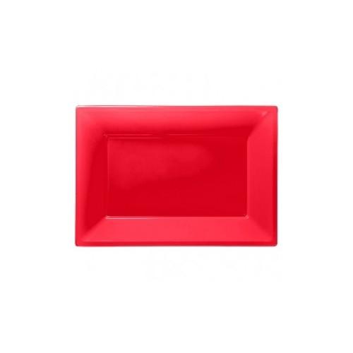 Bandeja Roja de Plástico (3 uds)