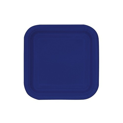 Platos De Cartón Azul Oscuro Cuadrado 18 cm (16 uds)