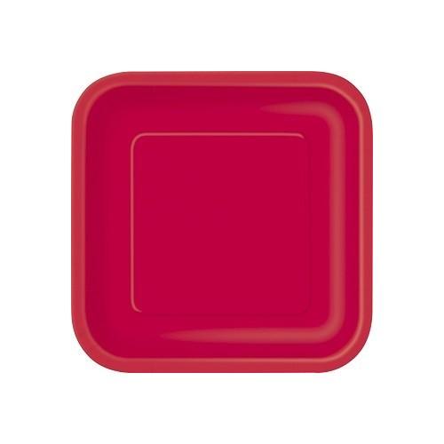 Platos De Cartón Rojo Cuadrado 18 cm (16 uds)
