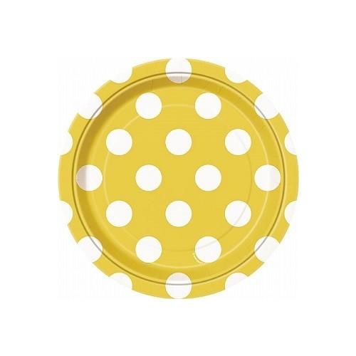 Platos De Cartón Amarillo Con Puntos Blancos 18 cm (8 uds)