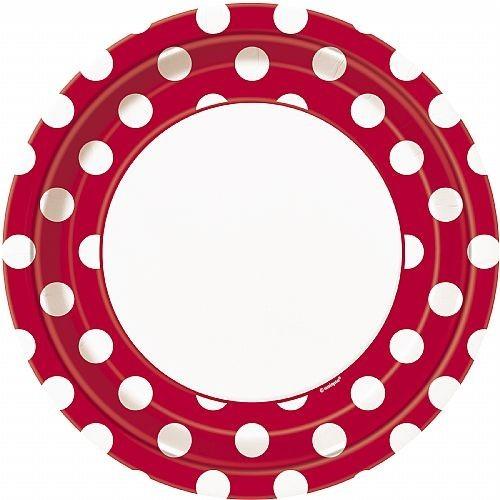 Platos De Cartón Rojos Con Puntos Blancos 23 cm (8 uds)