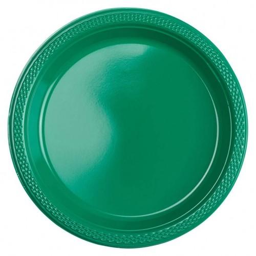 Platos Verde Plásticos 18cm (10 uds)