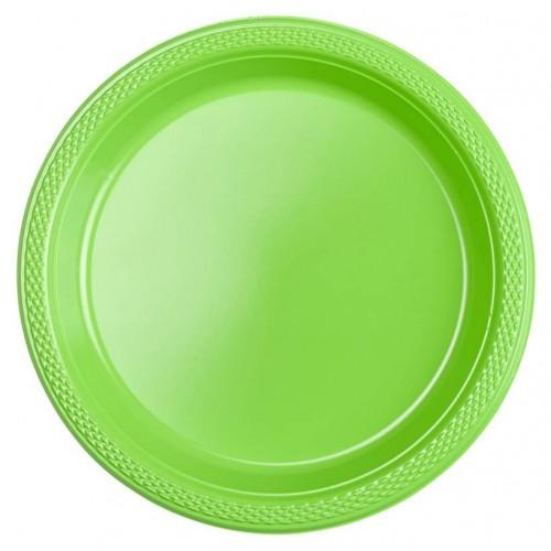 Platos Verde claro plásticos 18cm (10 uds)