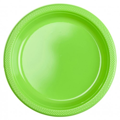 Platos Verde claro plásticos 23 cm (10 uds)